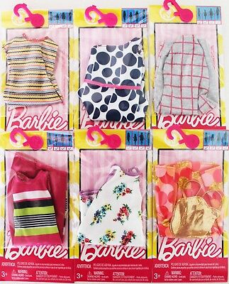 LOT of 6 Genuine Mattel Barbie Doll Dolls Fashion Clothing Clothes Dress - Mattel Barbie Doll Clothing