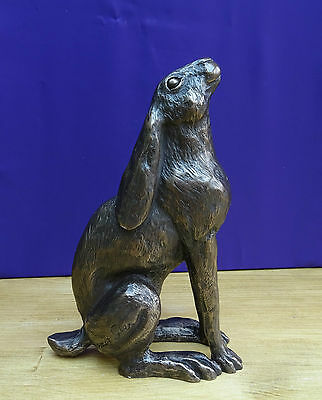 "Harriet Glen Bronze Hare Sculpture  ""Moon Gazing""  Figure Ornament Statue"