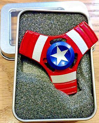 *CAPTAIN AMERICA METAL HAND TRI FIDGET SPINNER in BOX USA SELLER! Avengers! NEW!