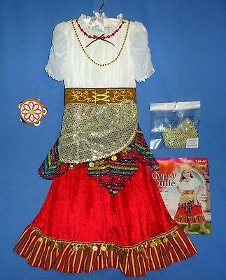 Gypsy Costume Dress-Pirate Girl 4/6-Scarf-Peasant-Fortune Teller tambourine-LOT - Gypsy Girl Costume