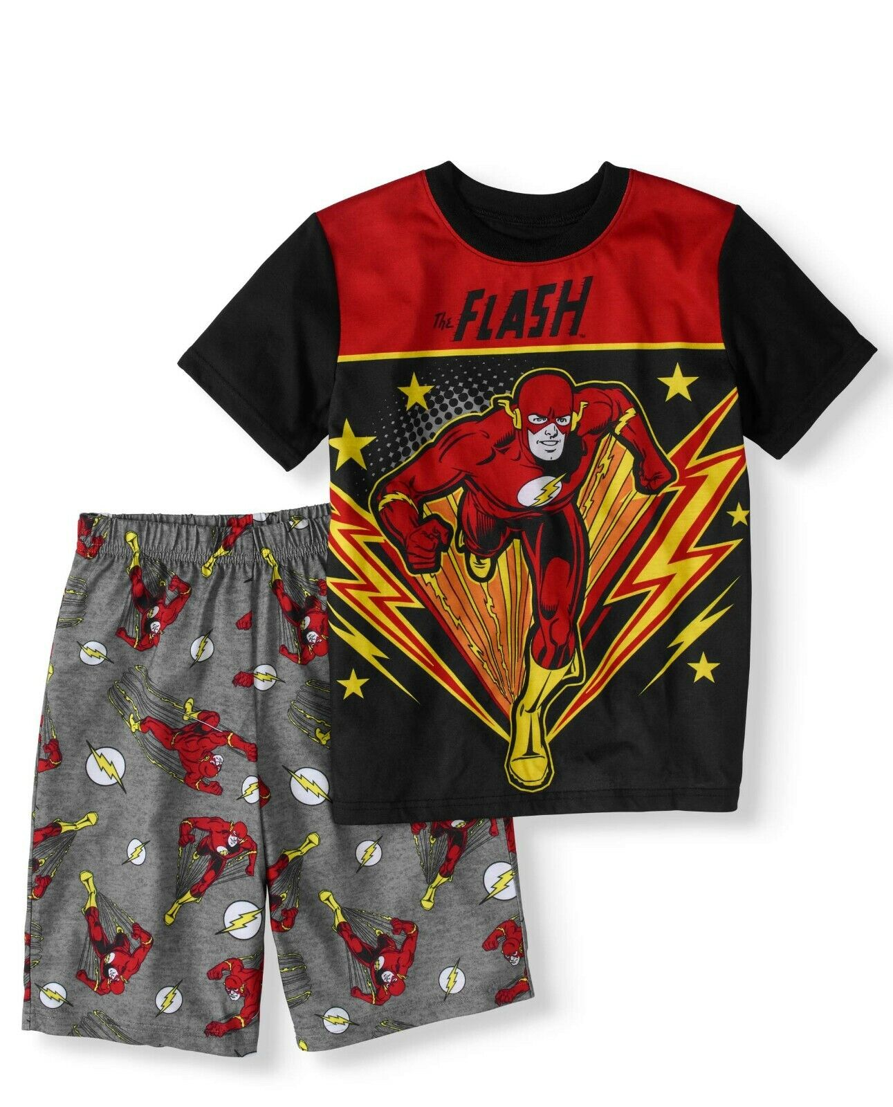 DC Comics Big Boys' The Flash Logo Short Sleeve Shirt Pajama Short Set size M 8