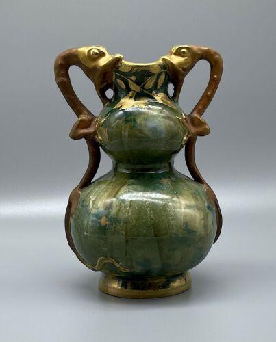 RStK Teplitz Stellmacher Art Nouveau Amphora Forest Vase w/ Serpents Dragons
