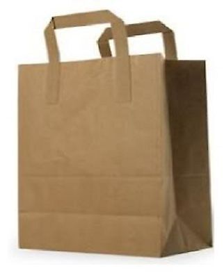 Carrier Bags LARGE Brown Kraft Paper Takeaway / Restaurant SOS  x 10