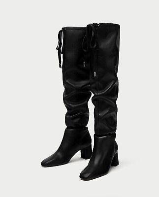 ZARA Overknee Stiefel Boots Crotch LEATHER BLACK SCHWARZ Echtes Leder online kaufen