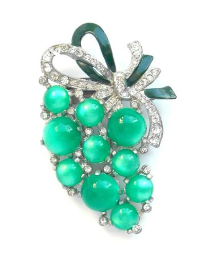 Coro Green Lucite Moonglow Grapes Fur Clip - 1941 patent