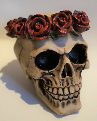 Gothik Hochzeit Tischdeko Schädel mit Rosen Skulls TD0087 (3)