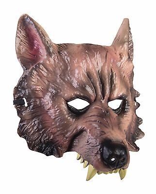 WEREWOLF WOLF ANIMAL w/FANGS PVC PLASTIC 1/2 FACE MASK ADULT HALLOWEEN - Wolf Fangs