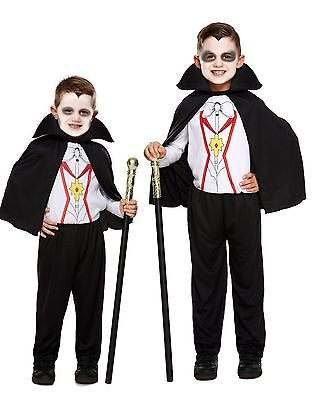 VAMPIRE DRACULA BOYS HALLOWEEN FANCY DRESS COSTUME WITH CAPE TODDLER TO 12 YEARS ()