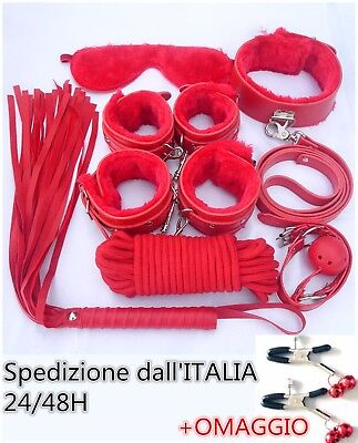 Set Kit 8 Pezzi Rosso Costrittivo Manette Palla Frusta Slave Bondage Collare Sex