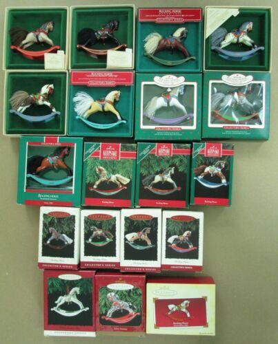 Set of 19 Hallmark Rocking Horse Ornaments in original boxes