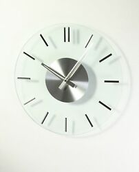 Midcentury Style Silver Glass Clock in Glass and Silver