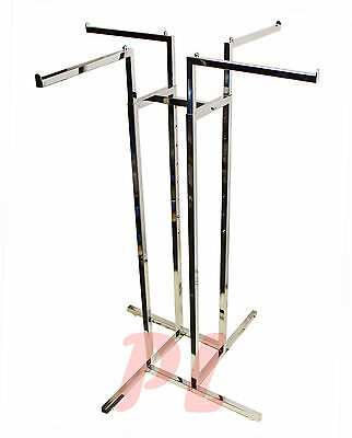 4 Way Chrome Clothing Garment Retail Display Rack Clothes Hanger Fixture 72
