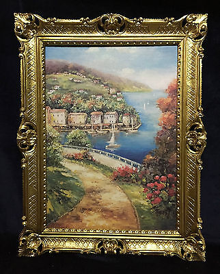 Gemälde Landschafts See Insel Bild mit Rahmen Gold Antik 90X70 Segelboot 12 - Antik Küche Inseln