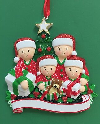 Pajama Family Opening Presents Ornament for Family of 4 - Personalized