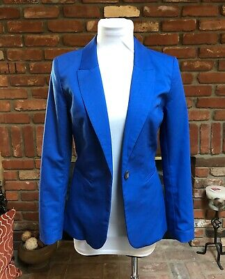 Divided by H&M Colbalt Blue Dressy One Button Kick Pleat sz 4 Blazer Jacket $118