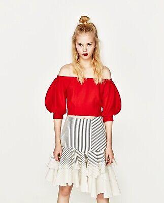 Zara Womens Size L Red Crop Top Lantern Sleeve Off Shoulder