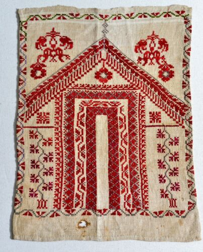 ANTIQUE 1800s PALESTINIAN OTTOMAN EMBROIDERY SILK ON FLAX TYRIAN DYE TEXTILE
