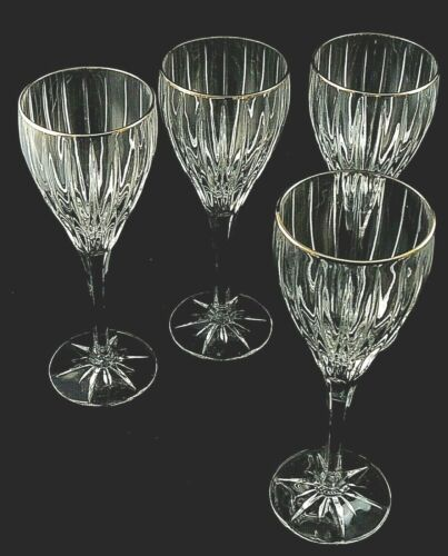 "GOLDEN TIARA by Mikasa Crystal WATER GOBLETS Glasses 8 7/8"" - Set of 4"