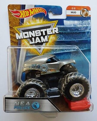 Hot Wheels Monster Jam Truck  NEA POLICE  Mud Treads Rare UK !!