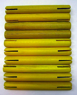 "Wooden Tinker Toys Parts Lot: 10 YELLOW RODS ~3"" Replacement Tinkertoy Pieces"