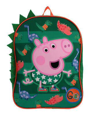 Peppa Pig George Dinosaurs 3D GO Green Childrens Backpack School Bag Rucksack - George Pigs Dinosaur