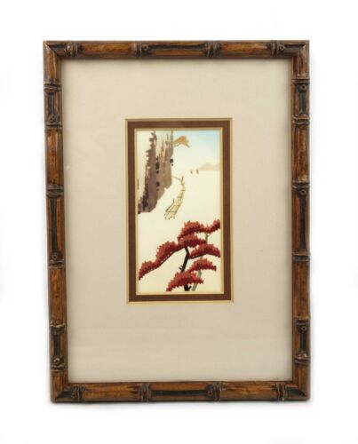 Vintage Mid Century Modern Japanese Landscape Painting in Gesso Bamboo Frame