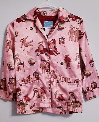 Monkey Pink Girls Pajamas - Nick & Nora Girls Size medium 8 Pink Sock Monkey Pajama top