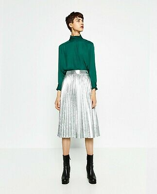 Green Blouse Satin Feel Zara XS