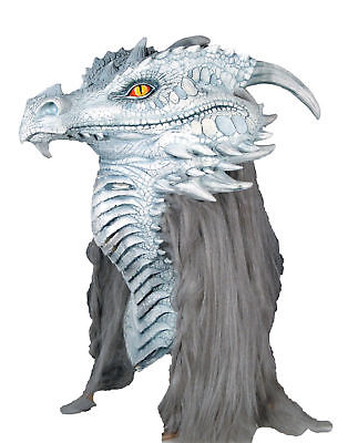 Ancient Dragon Premiere Mask Full Adult Latex Gray Silver Halloween