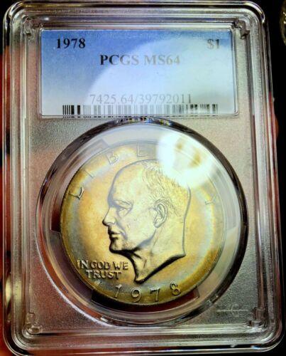 1978-P PCGS MS64 Eisenhower Ike Dollar - Colorful Toning