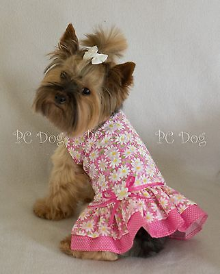 XS New Pretty Pink Daisy Dog Dress clothes pet apparel clothing PC Dog®