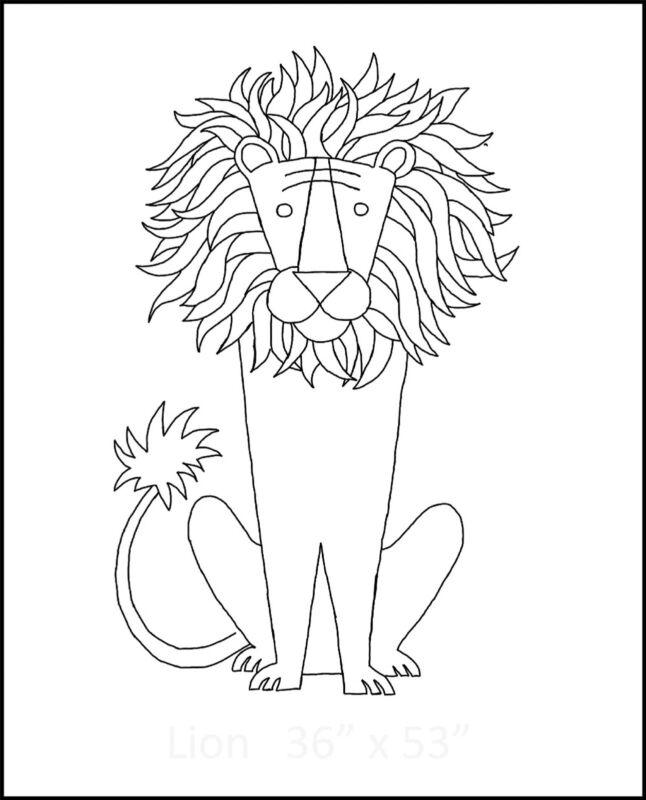 """Rug Hooking Pattern """"LION""""  on natural linen"""