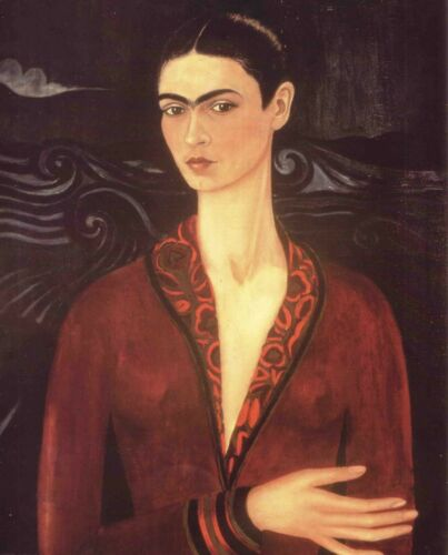 Print - Self Portrait in a Velvet Dress, 1926 by Frida Kahlo