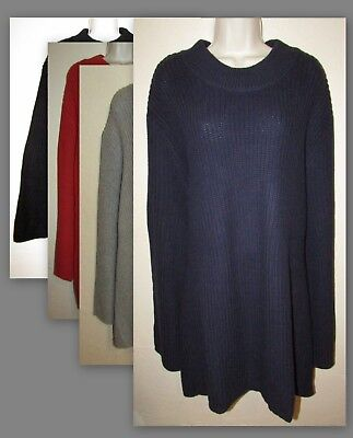 Womans 4X  Mock Neck Cotton Blend Shaker Knit Swing Sweater New in Package