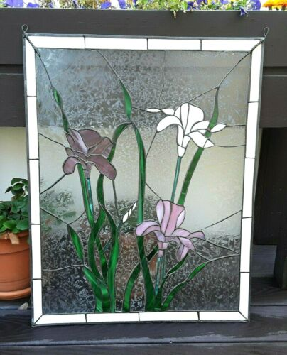 """Beautiful Vintage Hanging 28"""" x 22"""" Stained Glass Panel IRIS FLOWERS lead"""