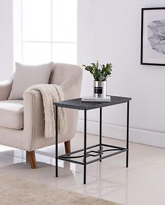 Kings Brand Furniture - Launt Side Accent Table, Black Metal & Wood