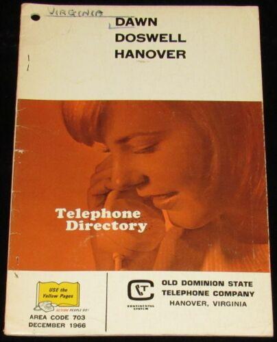 1966 VIRGINIA TELEPHONE DIRECTORY, DAWN, DOSWELL, HANOVER, AREA CODE 703