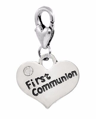 First Communion Heart Rhinestone Lobster Claw Clip On Dangle Charm for Bracelets