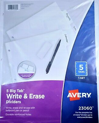 Avery 5 Big Tab Write Erase Dividers - 5 Sets - 23060