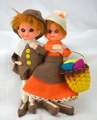 Vintage Lee Wards Thanksgiving Pilgrim Felt Japan Dolls with Rare Basket Harvest