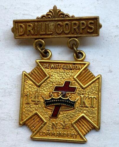 DRILL CORPS DE WITT CLINTON  14 KT NY COMMANDERY BADGE