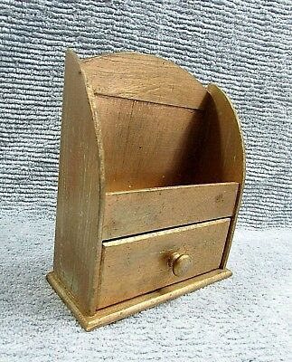 Primitive Old 1940's Gold Painted Wood Small 3x8x10 Kitchen Drawer Shelf FREE SH
