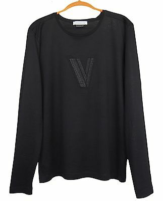 VERSACE Collection Mens Long Sleeve T-Shirt Cotton Black Size M
