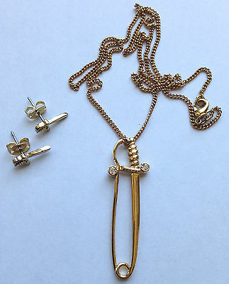 DISNEY COUTURE Collectable 2PC Set SWORD NECKLACE & EARRINGS !!! BRAND NEW !!!  Disney Couture Set Necklace