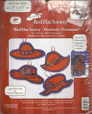 RED HAT SOCIETY HATTITUDE ORNAMENTS SIMPLE EMBROIDERY ON FELT KIT #85007 NEW!