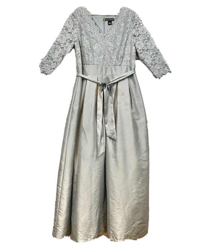 Jessica Howard Silver Long Formal Dress Wedding Guest Mother Of Size 16 Lace Top