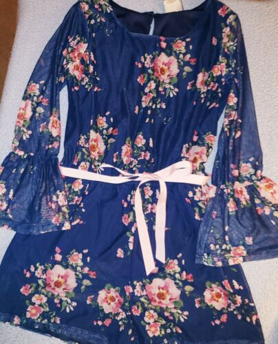 Girls size 16  Romper Navy/Pink Roses With SHEER 3/4 Bell SLEEVES 2-HIP