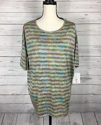 Argyle Triangle Top - LuLaRoe Irma Tunic Top Sz Small Sm Green Orange Stripe Triangle Print NWT