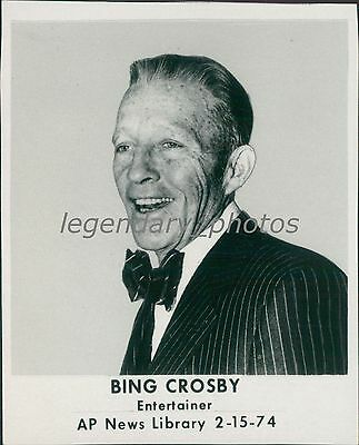 1974 Portrait Of Entertainer Bing Crosby Original News Service Photo