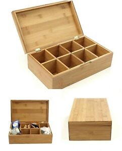Bamboo Tea Box Organizer Storage Holder Wooden 8 Compartment Drawer With Lid